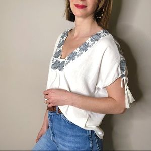 Anthropologie Tops - Anthro The Odells embroidered tassel ivory top S